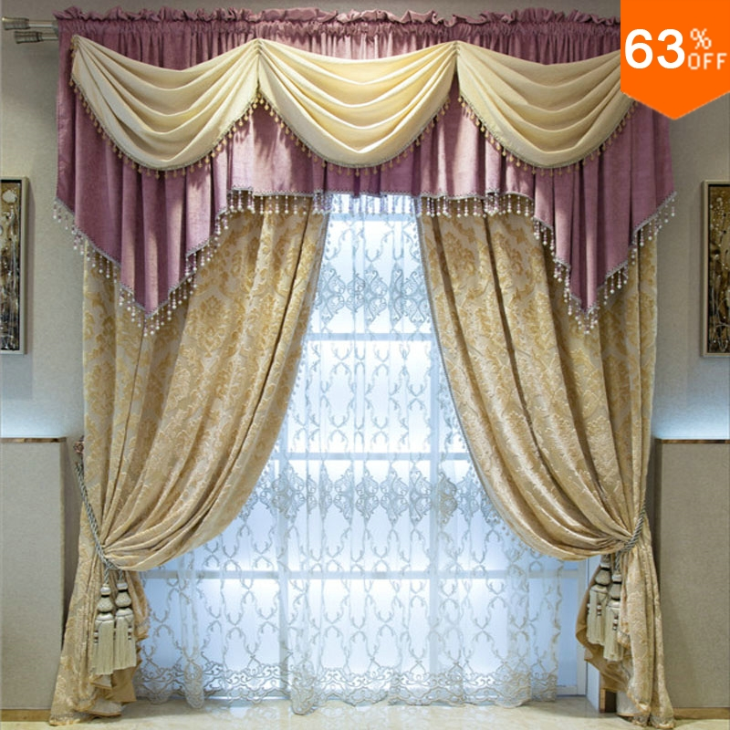 Double Rod Stick Pink And Golden Patchwork Curtains Of Hotel Hall Curtain Classic Elegant Living Room