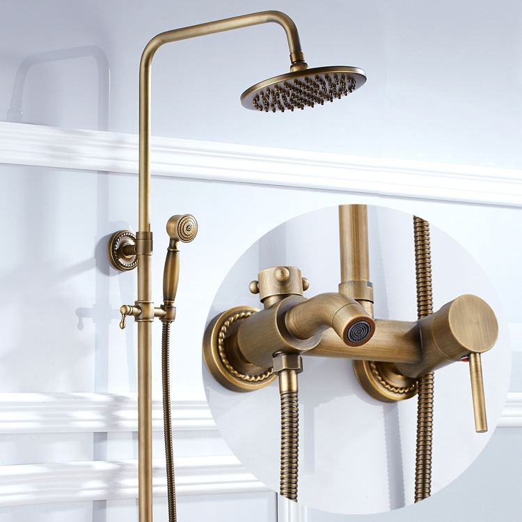 Antique Brushed Brass Bathroom Faucet Bath Faucet Mixer Tap Wall Mounted Hand Held Shower Head Kit Shower Sets antique brass telephone style handheld shower head dual handles bath tub mixer tap wall mounted bathroom faucet wtf312