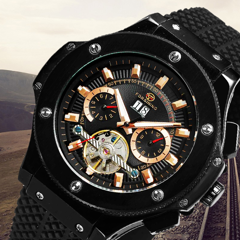 FORSINING Watches Men Luxury Top Brand Automatic Tourbillon Watches Silicone Strap Day Date Mechanical Watch with Gift Box forsining tourbillon designer month day date display men watch luxury brand automatic men big face watches gold watch men clock