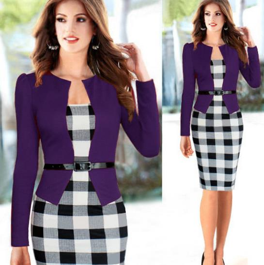 Womens Elegant Pencil Dress Patchwork Solid font b Tartan b font Check Plaid Wear to Work