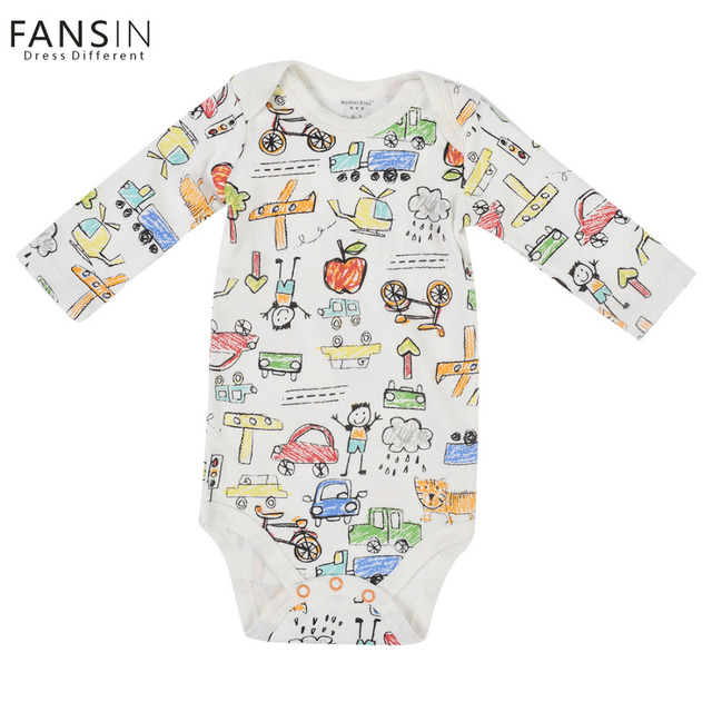 FANSIN Brand Newborn Baby Rompers Boys Girls Car Long Sleeves One-piece Clothing Airplane Baby Clothes Jumpsuit Children Costume