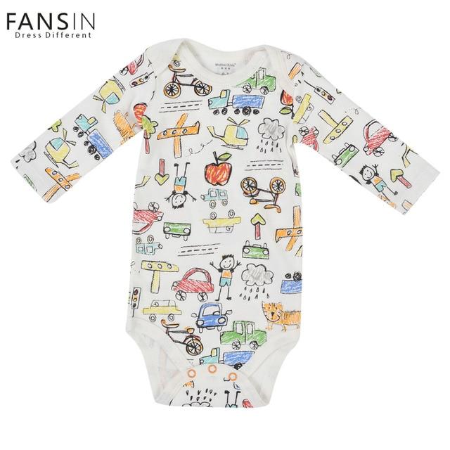 FANSIN Marca Mamelucos Del Bebé Recién Nacido Niños Niñas Coche Avión de Manga Larga vestido de Una sola pieza de Ropa Ropa de Bebé Mono Niños Traje