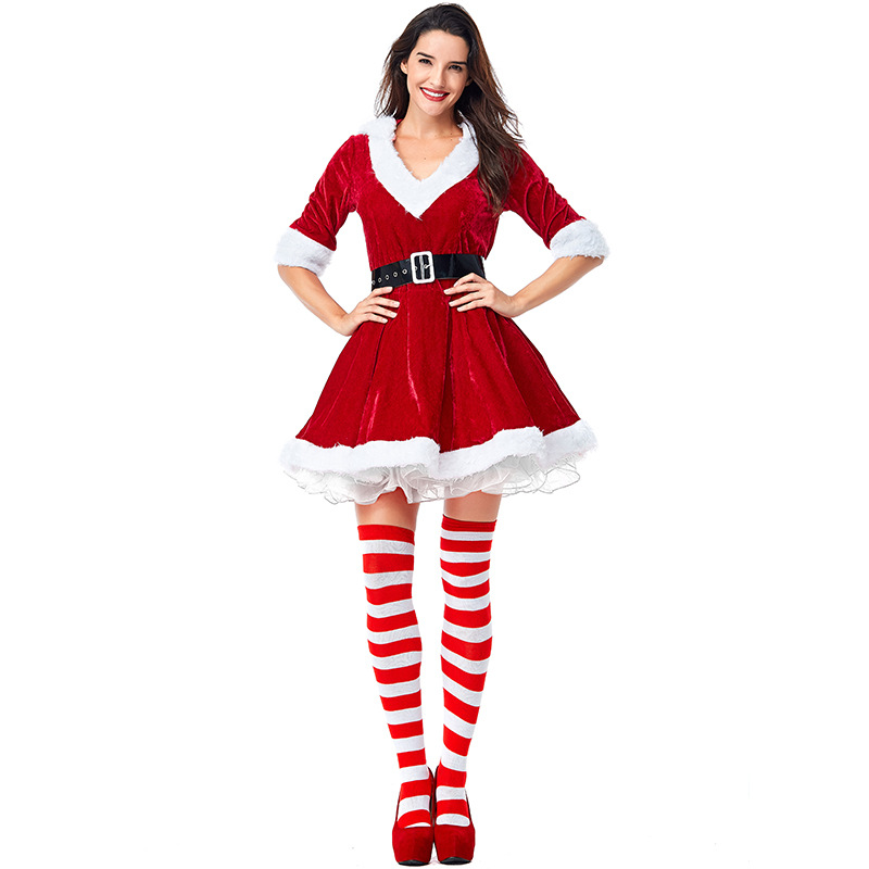 Women Christmas Fancy Party Dress Deep V-Neck Sexy Santa Claus Red Hoodie Cosplay Costumes Ball Gown Mini Party Christmas Dress