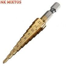 NK MIXTOS 1 piezas HSS Hex Shank Metal acero paso taladro herramienta de  corte para chapa 3 -12mm herramientas de carpintería 0cf7aec10bb7