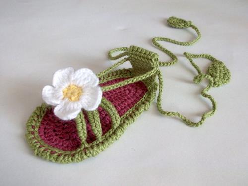 Häkelarbeitbaby Blume Sandalen, Baby Sommer Schuhe, handgemachte ...