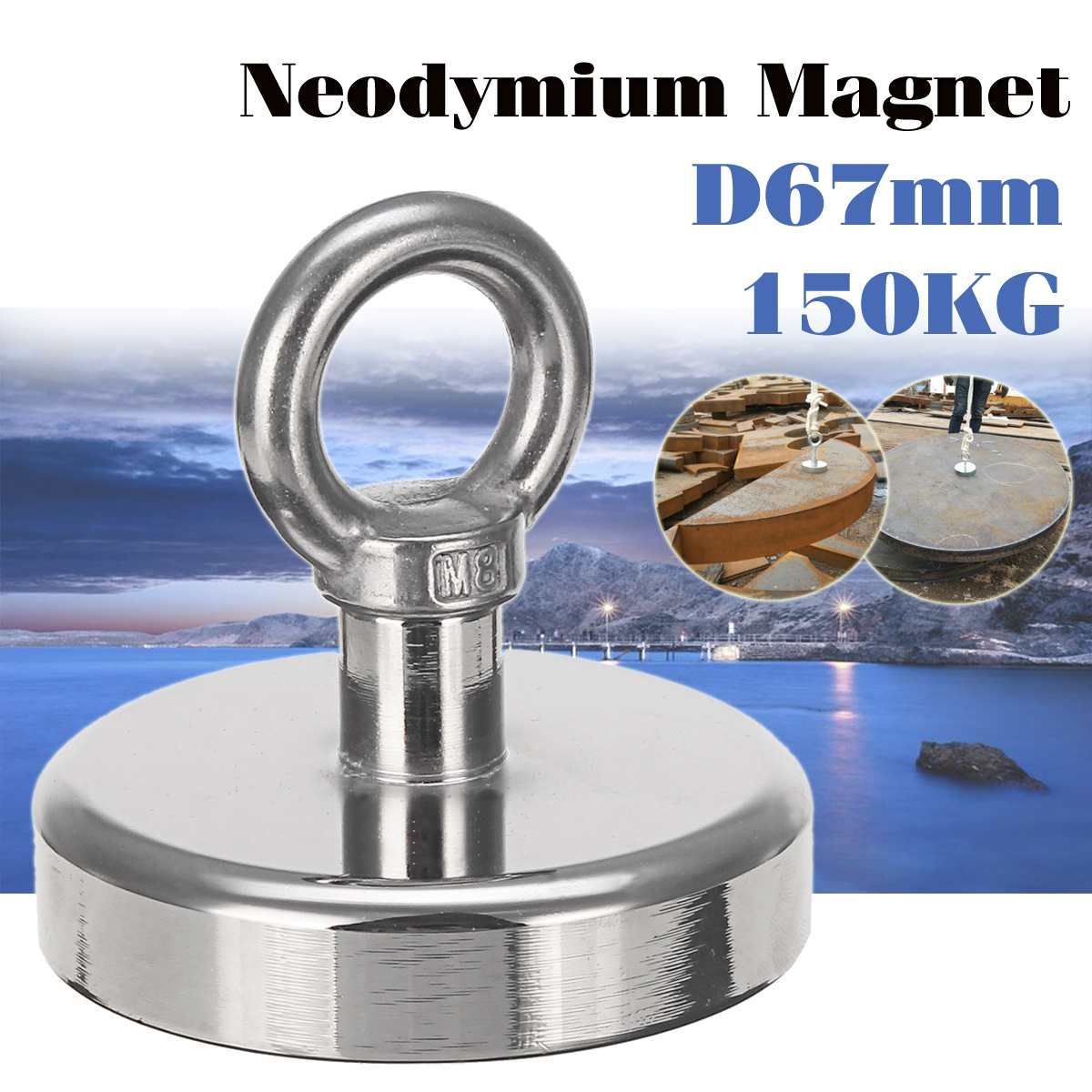 Super Strong D67mm 150KG Neodymium Fishing Diving Salvage Recovery Magnet For Detecting Metal Treasure Powerful Magnetic HolderSuper Strong D67mm 150KG Neodymium Fishing Diving Salvage Recovery Magnet For Detecting Metal Treasure Powerful Magnetic Holder