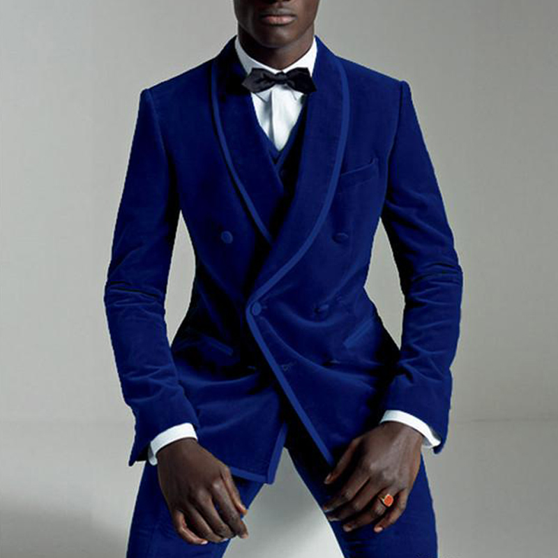 Suit Jacket Pant Vest Wedding-Tuxedos Velvet Royal-Blue Double-Breasted Male-Set Slim-Fit
