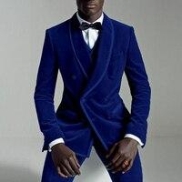 Double Breasted Slim Fit Men Suits Royal Blue Velvet Prom Stage Wedding Tuxedos 2019 Fall 3 Piece Male Set Suit Jacket Vest Pant