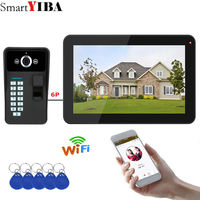 SmartYIBA 9 Wired /Wireless Wifi Video Doorbell Intercom System with Fingerprint RFID Password IR CUT HD Camera