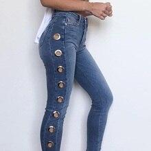 Высокая брюки с высокой талией женские новые джинсы женские с высокой талией синий сторона Сплит Джинсы бойфренда для женщин DD1431