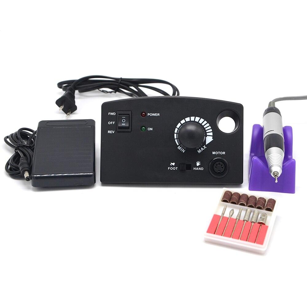 Noir Électrique 30,000 rpm Nail Manucure Forage Contrôleur Machine Pédicure Nail Drill Pen Machine Fraisage Bits Nail Accessoire Outils