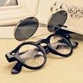 New retro uv 400 óculos óculos de armação de metal óculos de sol redondos duplo virar punk 4 cores