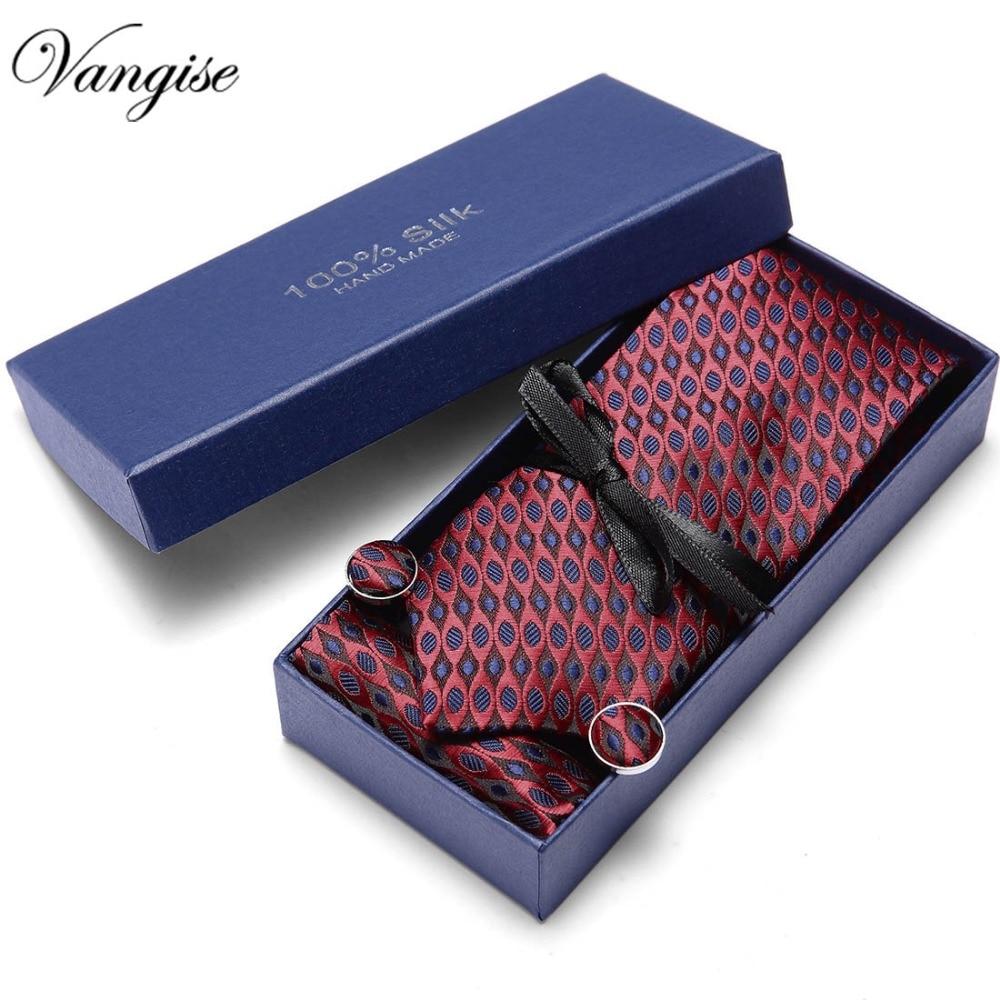 Tie Set Brand Mens Ties Frormal Jacquard Woven Ties for Men Handkerchief Cufflink Business High-grade Gift Box  Sets Necktie