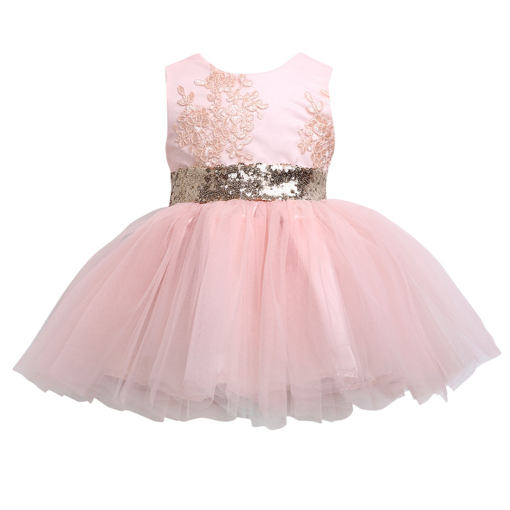 где купить  Baby Girls Ball Gown Dresses Bridesmaid Formal Clothing Kids Baby Girl Sequins Boknot Dress Cute Christmas Party Kids  по лучшей цене