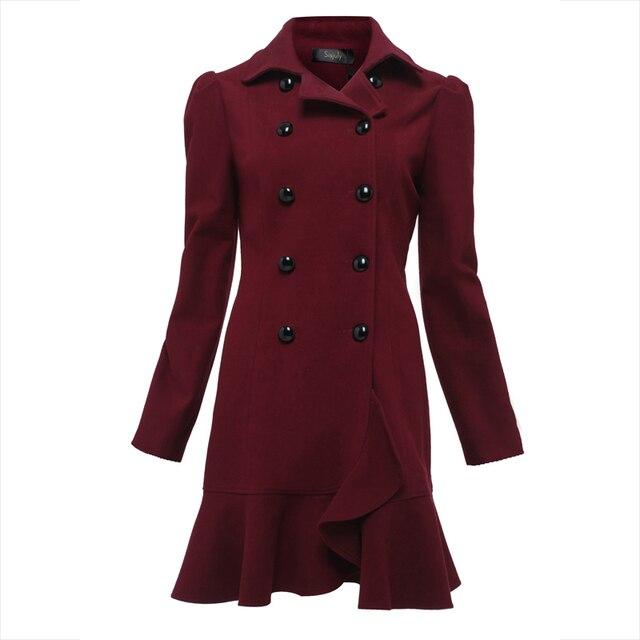 cb1849e07252 Young autumn coat women work burgundy slim long sleeve falbala double  breasted fall warm coats jpg