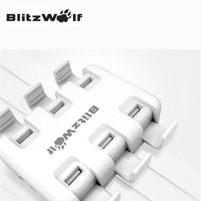 Blitzwolf 6 portas ua reino unido eua ue nova moda titular 50 w smart desktop universal micro usb adaptador de carregador usb com power3s tech