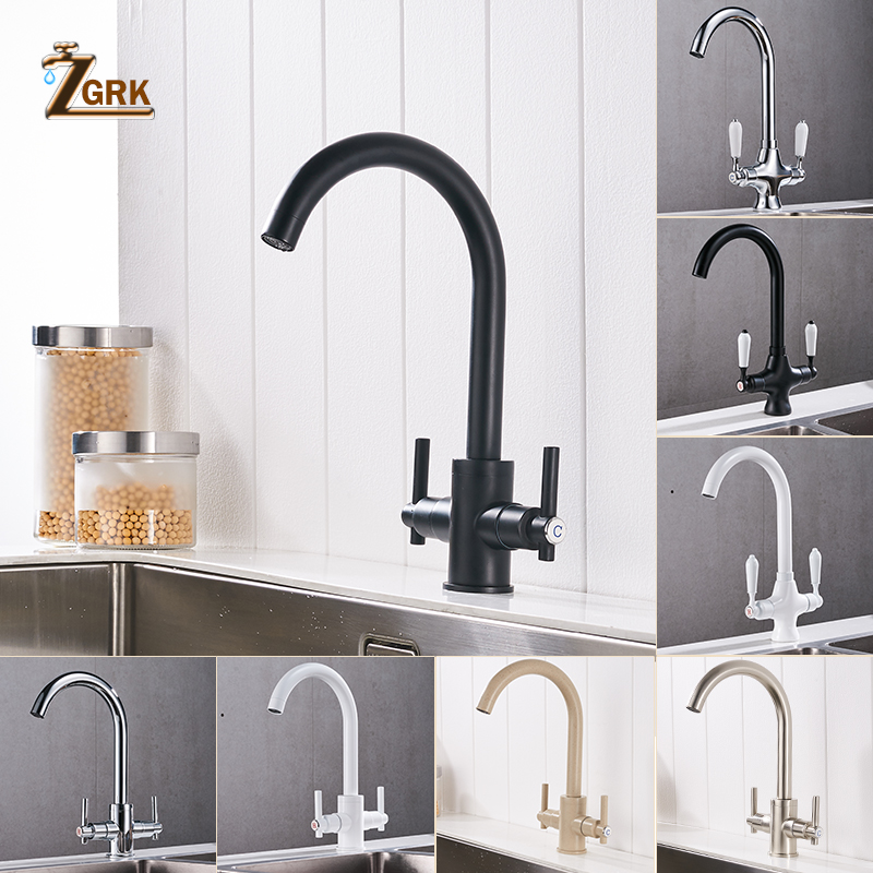 ZGRK Kitchen Faucets Black Dual Handle Pull Out Kitchen Tap Single Hole Handle Swivel Degree Water