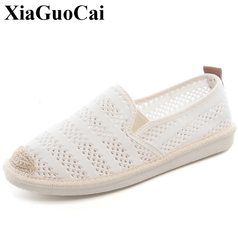 Fisherman Shoes Women Loafers Summer Hollow Breathable Fashion Casual Slip-on Flats Shoes All-match White Shoes H358 35 summer sandals women leather breathable mesh outdoor super light flats shoes all match casual shoes aa40140