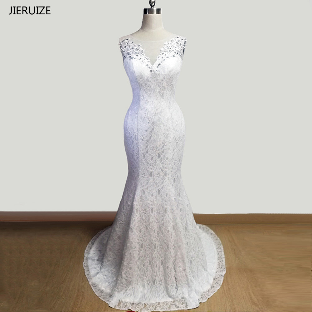 JIERUIZE White Lace Mermaid Wedding Dresses Lace Up Back Beaded Wedding Gowns Vestidos De Noiva Robe De Mariee