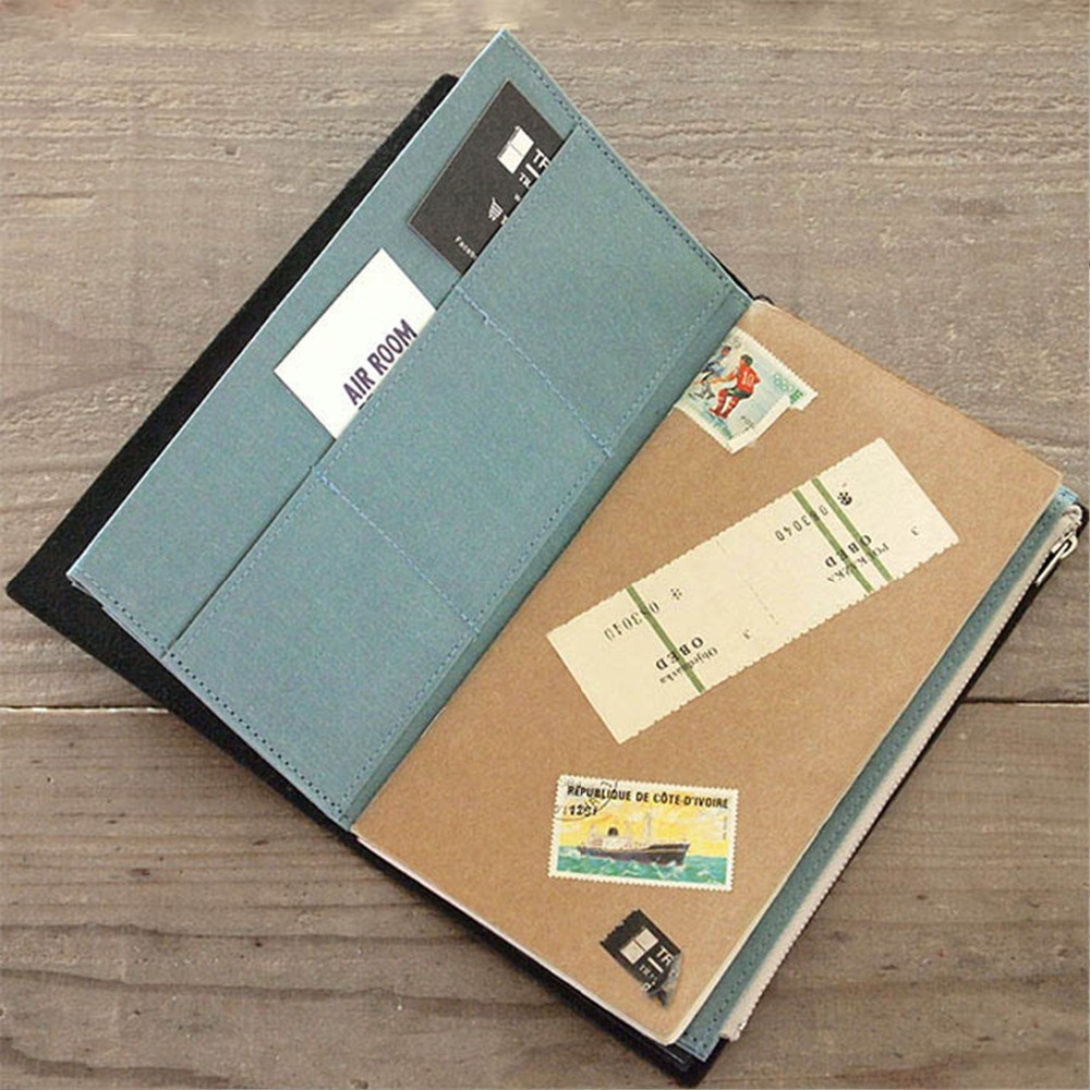 Canvas Folder For Travler Notebook L/M Size Stationery Bag Business Card File Zipper Bag