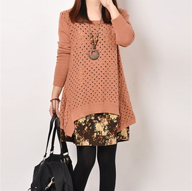 Autumn Winter Women shirt Plus Size Knitted Two-piece suit blouse Casual Print Patchwork Pullover Sweater Tops 46
