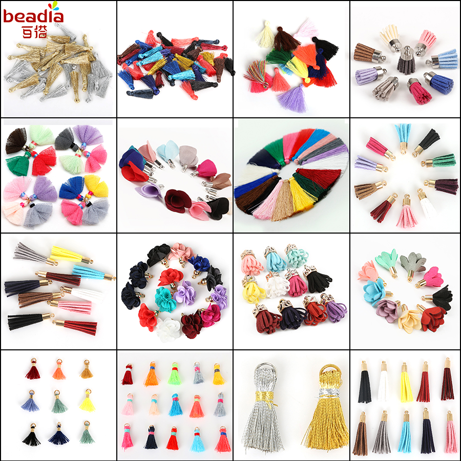 10-50pcs mixed Types Tassel Findings Flower,Silk,Polyester Charms Pendant Drop Earring