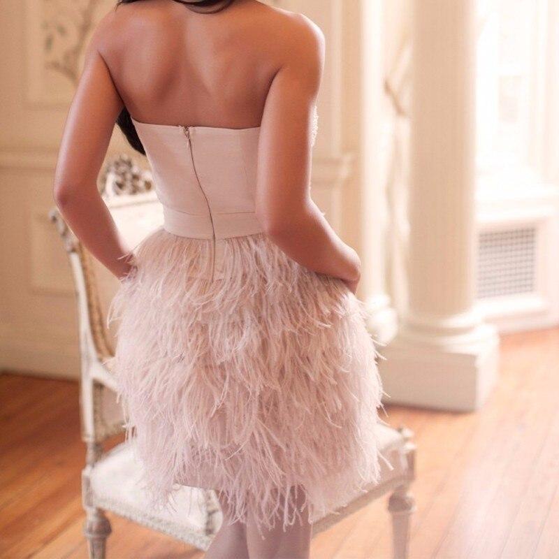 De moda de lujo corto vestido de fiesta 2017 Plumas con cuentas de ...