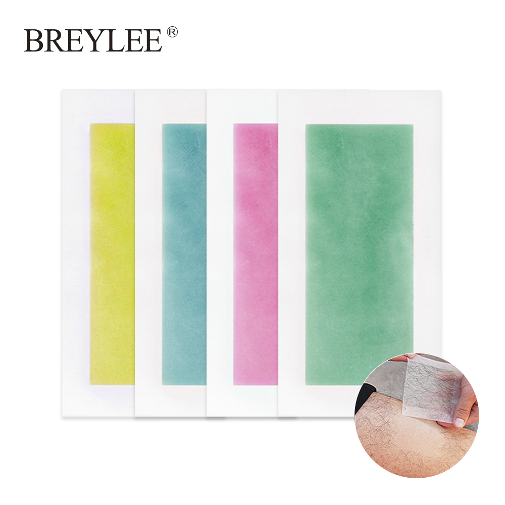 BREYLEE Hair Removal Wax Strips Papers Large Size Face Beard Body Professional Hair Remover Double Sided Tape 20piece=10sheets