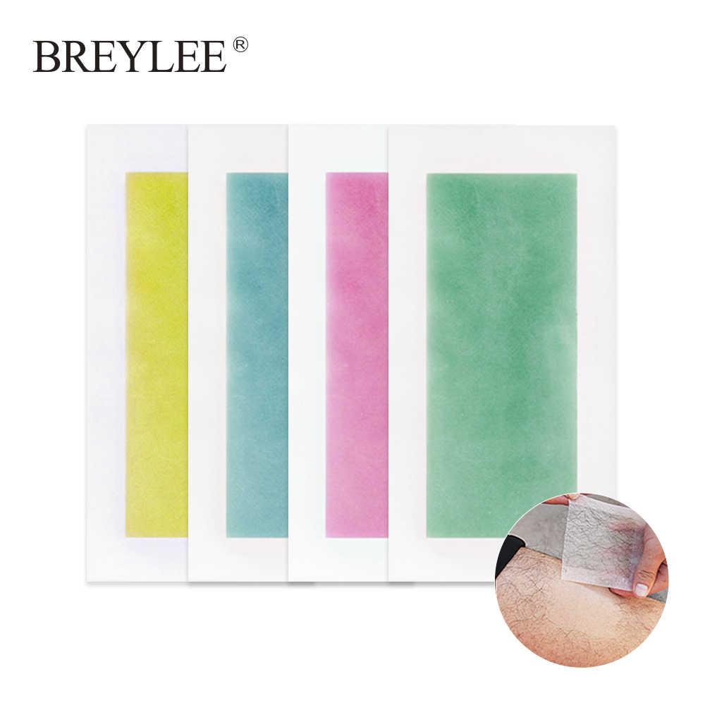 BREYLEE epilasyon Wax şeritler kağıtları büyük boyutu yüz sakal vücut profesyonel saç çıkarıcı çift taraflı bant 20 adet = 10 levhalar