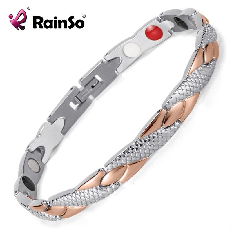 Rainso aço inoxidável magnético pulseiras & pulseiras cura bio charme pulseiras para mulher ouro rosa polido OSB-692SRGFIR