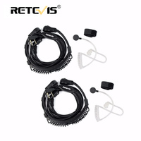 2pcs Adjust Size Throat Microphone Headset 2pin Finger PTT Earpiece For Kenwood Baofeng UV 5R Bf