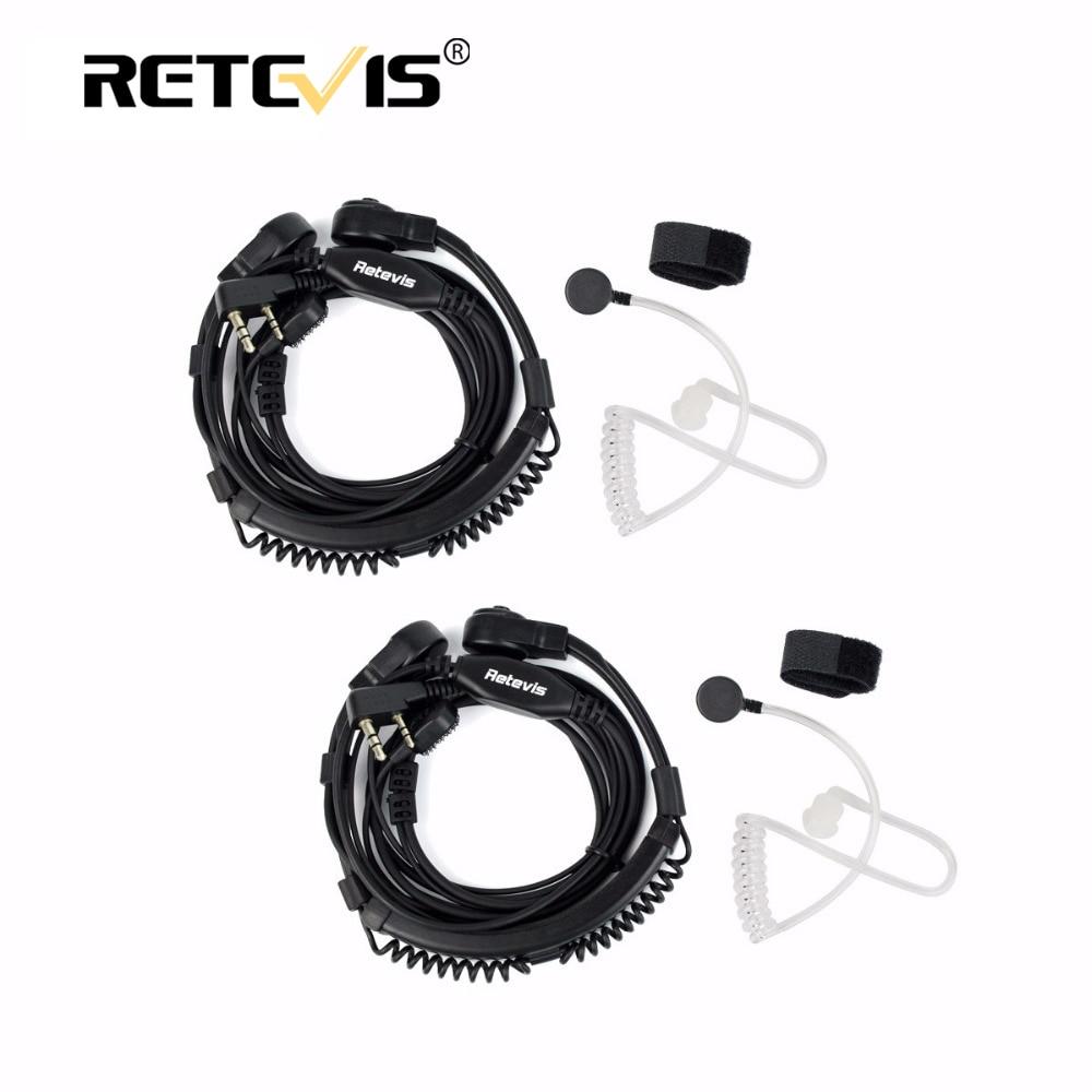2 stücke Flexible Throat Mic Headset Walkie Talkie PTT Hörer Für Kenwood Baofeng UV-5R UV-82 Retevis H777 RT-5R RT22 RT3 RT81 RT7