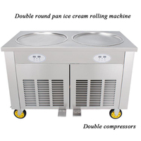 double compressor Thai Fried Ice Cream Machine Roll with pedal defrost