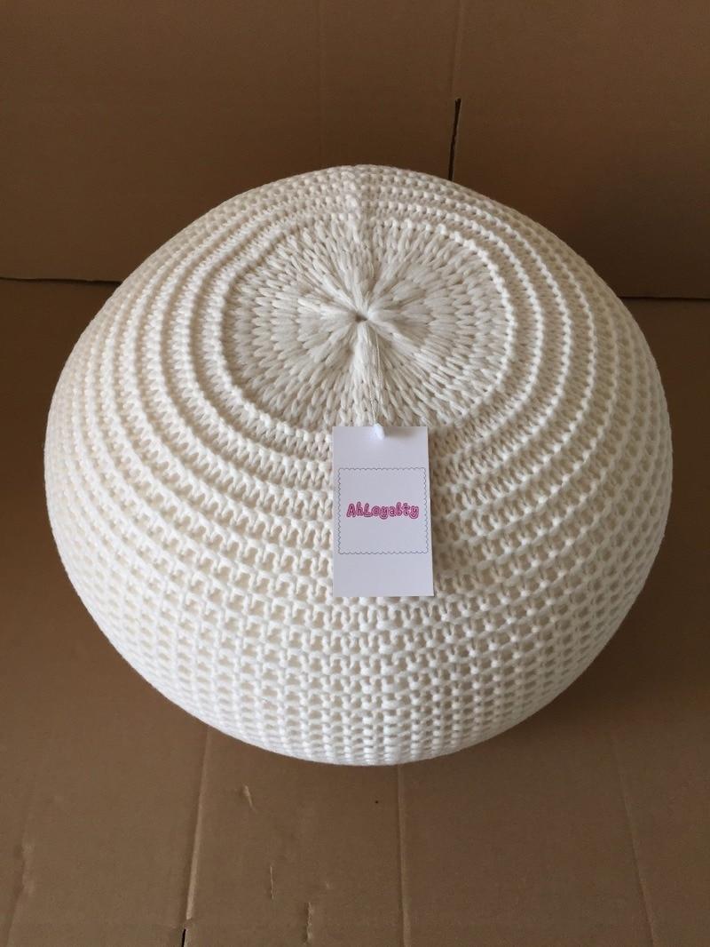 Coussin rond en laine tricotée à noyau solide pour la décoration prenez une Photo POUF coussin de chaise ronde en haricot - 4
