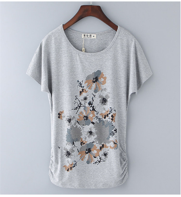 HTB1VOVeNgHqK1RjSZJnq6zNLpXam - Summer Female T Shirt New arrive Women's printing Short-sleeve White Cotton T-shirt women Loose Batwing Sleeve O-neck T-Shirt