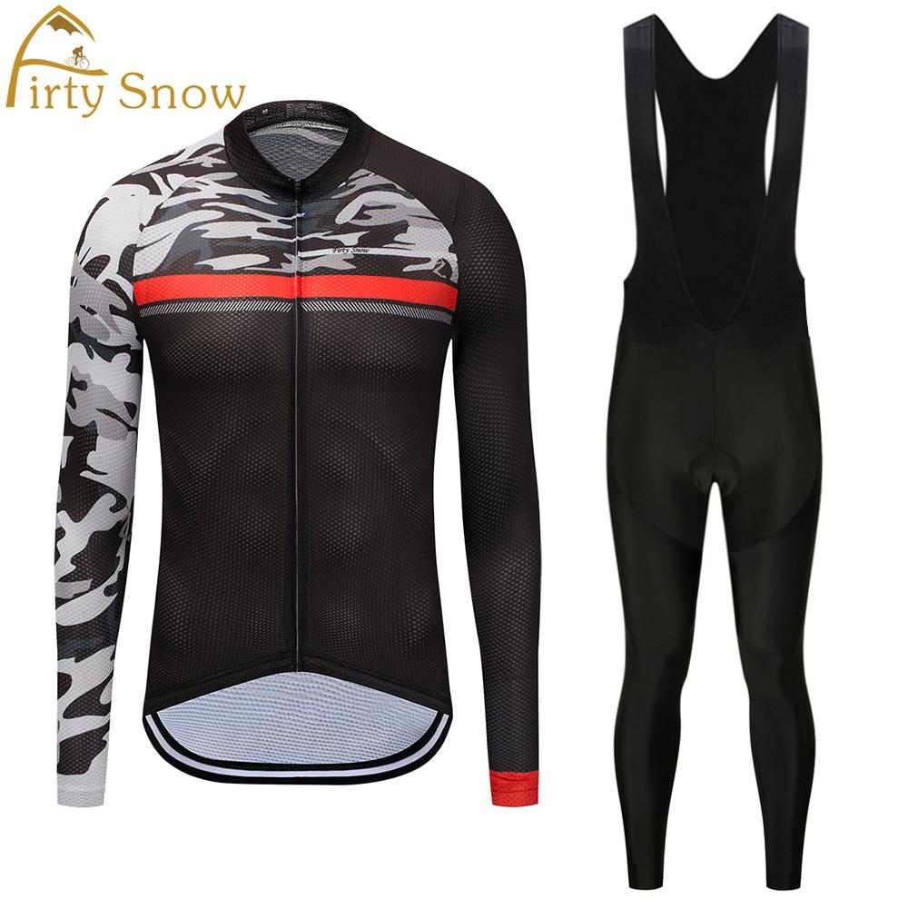 Firty Snow Men White Skull MTB Bike jersey Bib Pants Sets Cartoon Pro Team Cycling clothing Riding Wear Long Sleeve Shirts