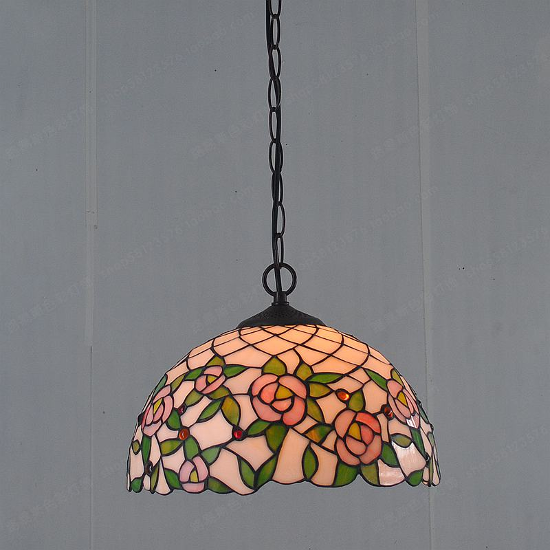30CM pink rose restaurant chandelier Tiffany lighting bedroom hotel American Pastoral Eu ...