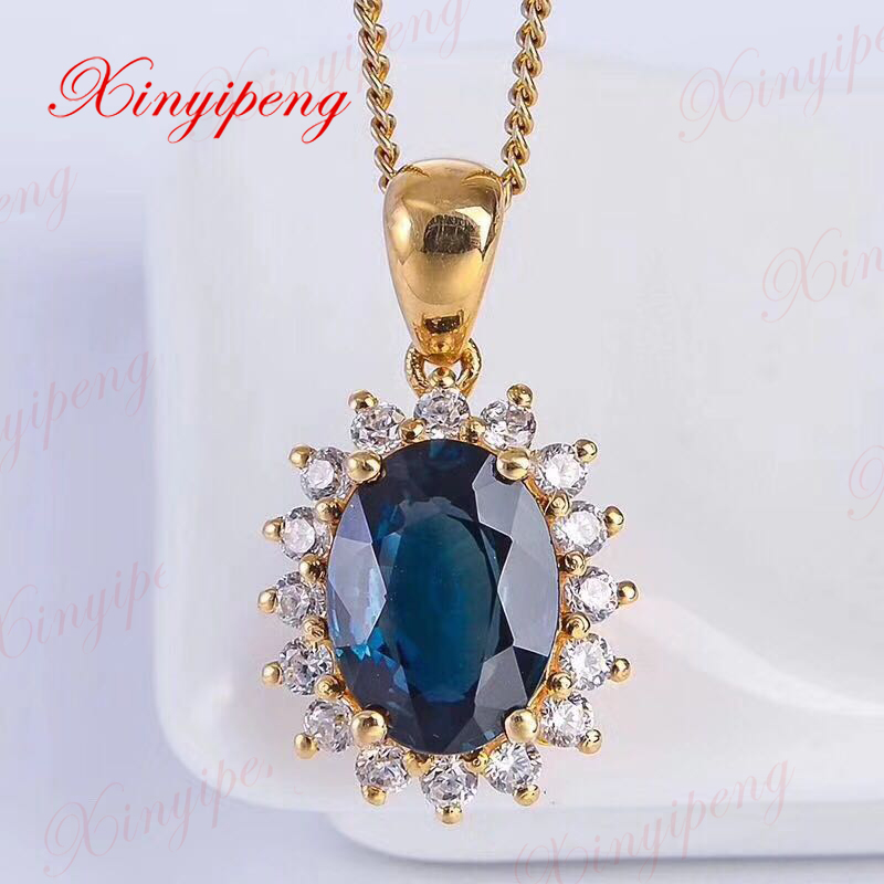 цена на 18 k yellow gold inlaid natural sapphire necklace earrings suit style beautiful women model