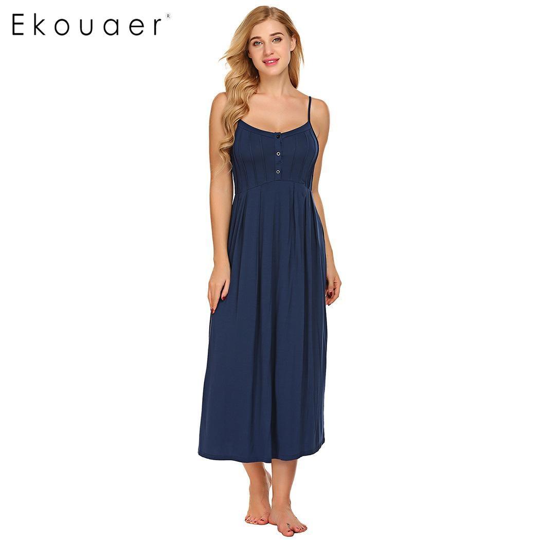 Women nighties night dress spaghetti strap nightgown sleeveless button sleepwear long sleep dress female homewear cloth