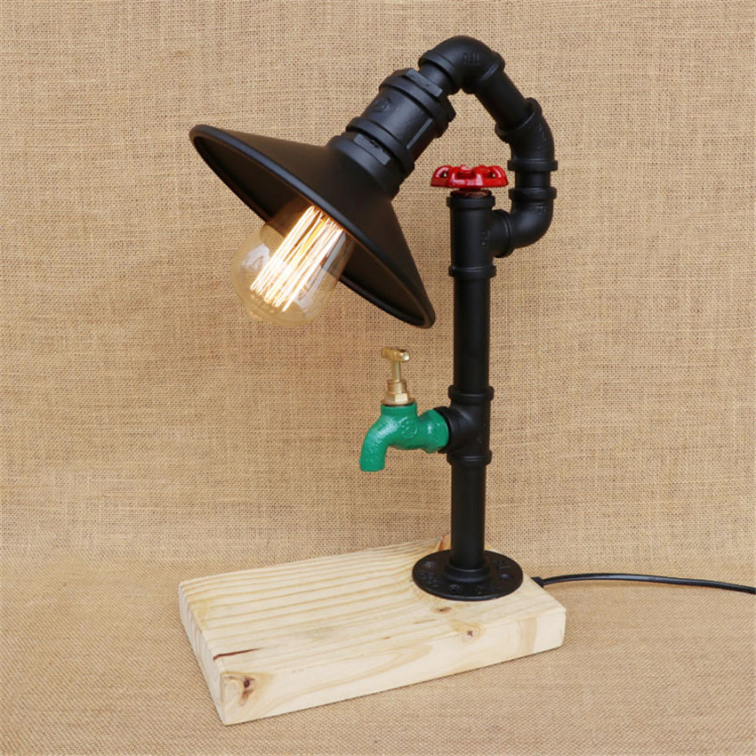 Industrial Retro Vintage Style Single Table Light Plumbing Water Pipe Table Lamp Desk Lamp Light Wood Base Use E27 Bulb Convenient To Cook Lights & Lighting Led Table Lamps