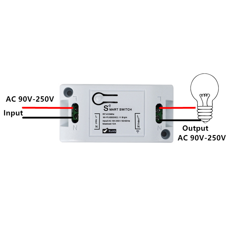 QIACHIP Wifi inalámbrico interruptor de luz Universal 433 Mhz 10A RF inteligente casa módulo Wifi interruptor de Control remoto a través de iOS android App