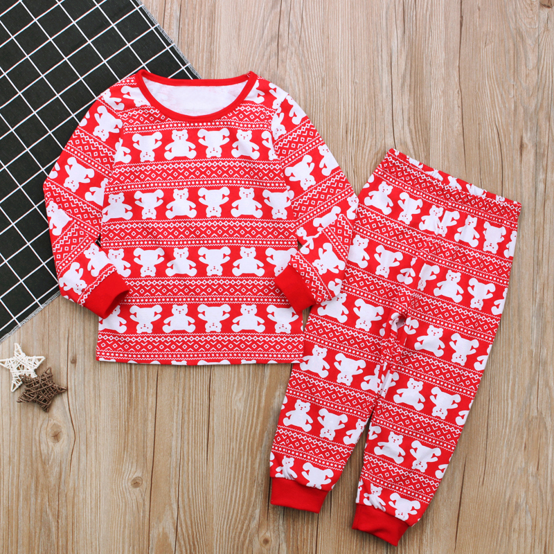 Rorychen New Brand 2018 New Style Clothing Red Children Girls Cute Christmas Pajamas Set Cartoon Bear Pattern Comfortable Set