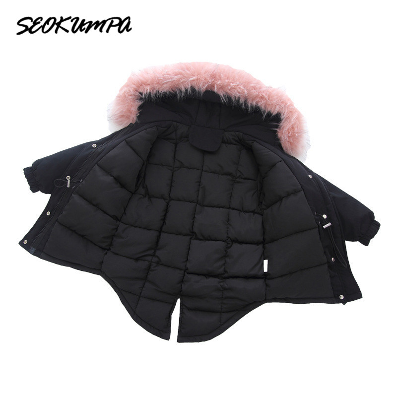 Girls Outwear Children Winter Warm Jackets 2019 Fashion Thickening Hooded Medium Long Cotton Padded Coat For 4-13Years Old цена