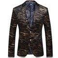 Mens Oro Real Impreso Patrón Cabidas Delgadas Blazer Blazers Mens Traje Chaqueta Trajes de la Etapa de Baile Para Cantantes 260