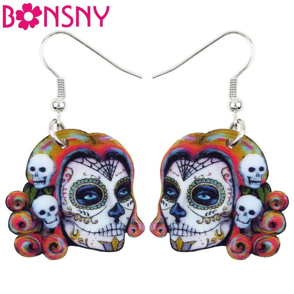 Bonsny Acrylic Dangle Drop Musician Halloween Festival Skeleton Skull Earring Big Long Fashion Jewelry For Girls Women Wholesale