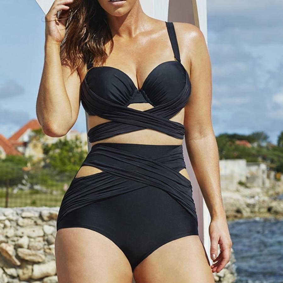 <font><b>DD</b></font> <font><b>Cup</b></font> Black Wrap <font><b>Underwire</b></font> High Waist Plus Size <font><b>Bikini</b></font> Set Push Up Swimsuits Beachwear Bandage Bathing Suit Big Size XXXXL