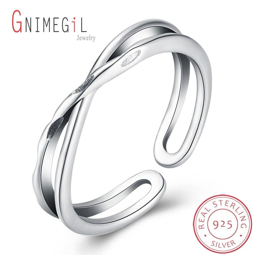 GNIMEGIL brand 2017 New Ring 925 Sterling Silver Fashion Elegant Cross Opening Rings women jewelry big discount finger ring