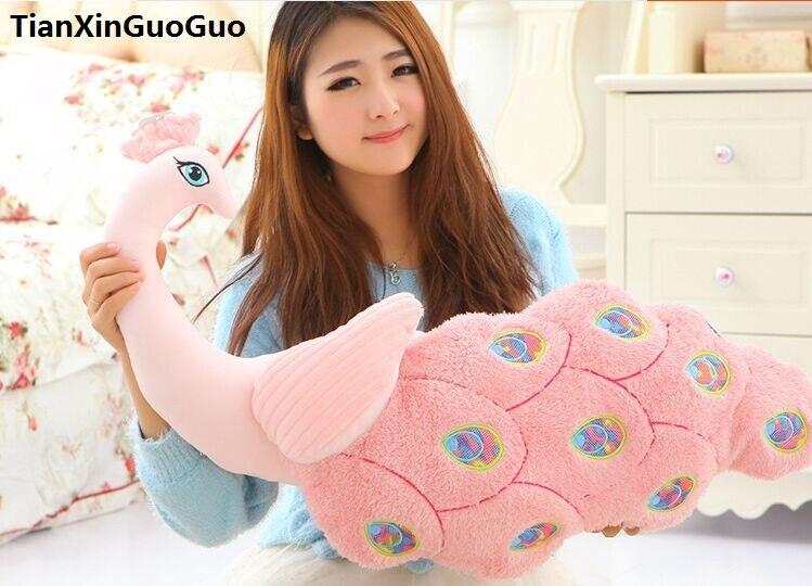 Grand 80 cm dessin animé paon en peluche jouet belle rose paon doux poupée étreinte oreiller créatif cadeau d'anniversaire s0869