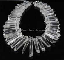 50 unids/Strand pulido cristal de cuarzo claro punto stick Colgantes, cristales crudos Top perforado cuarzo Spike Cuentas, 6-8×26-46mm