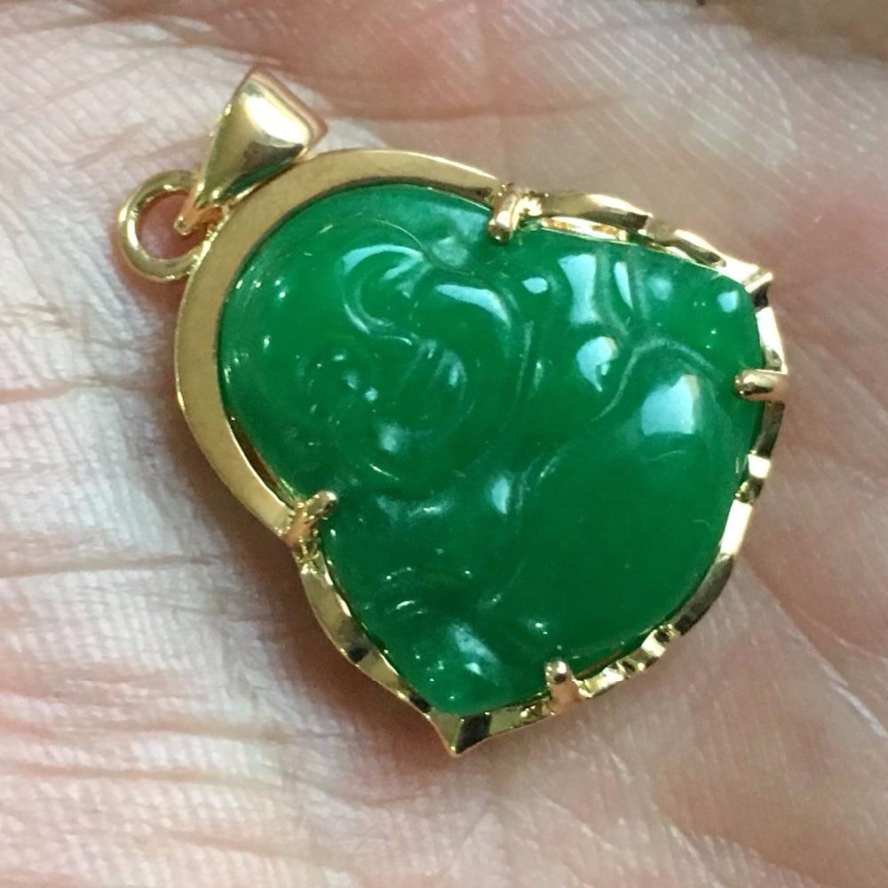 New good Lucky Green JADE NEW Buddha Pendant&Necklace